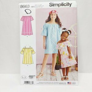 Simplicity 8663 Size 7-14 Kids Sewing Pattern Dres